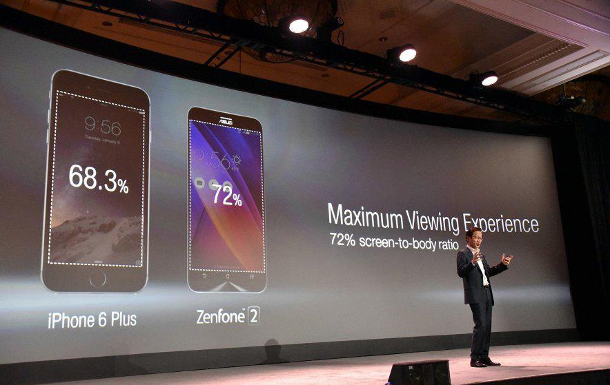 Asus-презентация фото 4 сравнение zenfone 2 с iPhone 6 plus