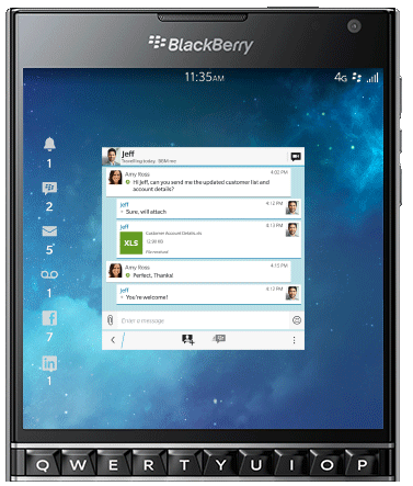 Blackberry passport-экран