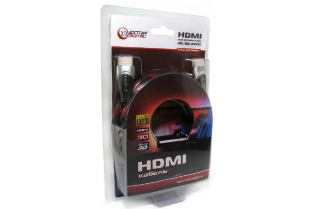 Extradigital HDMI to HDMI 3m v1.4 30 AWG Gold Nylon 2xFerrites KBH1611