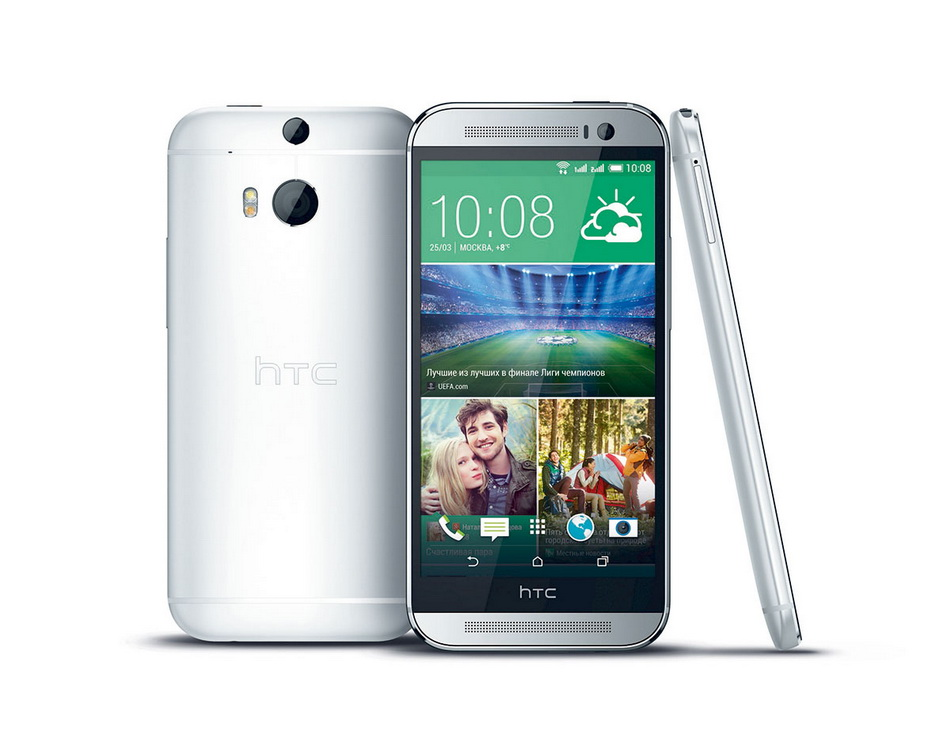 HTC One (M8) Dual Sim Silver-экран задняя панель и вид сбоку