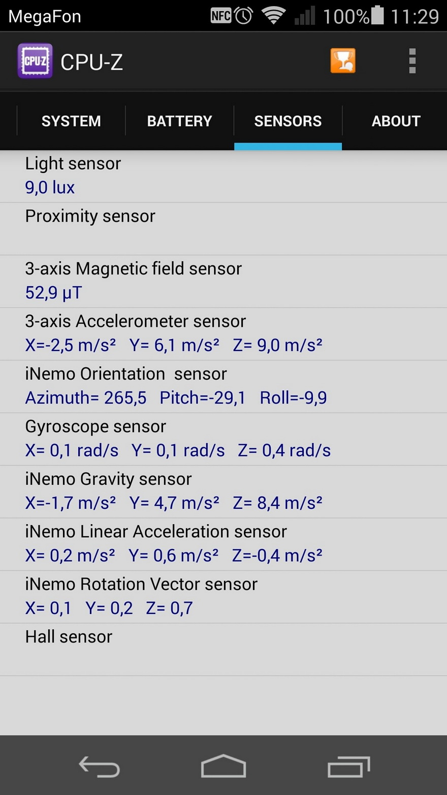 Huawei Ascend P7- информация о системе и железе CPU Z