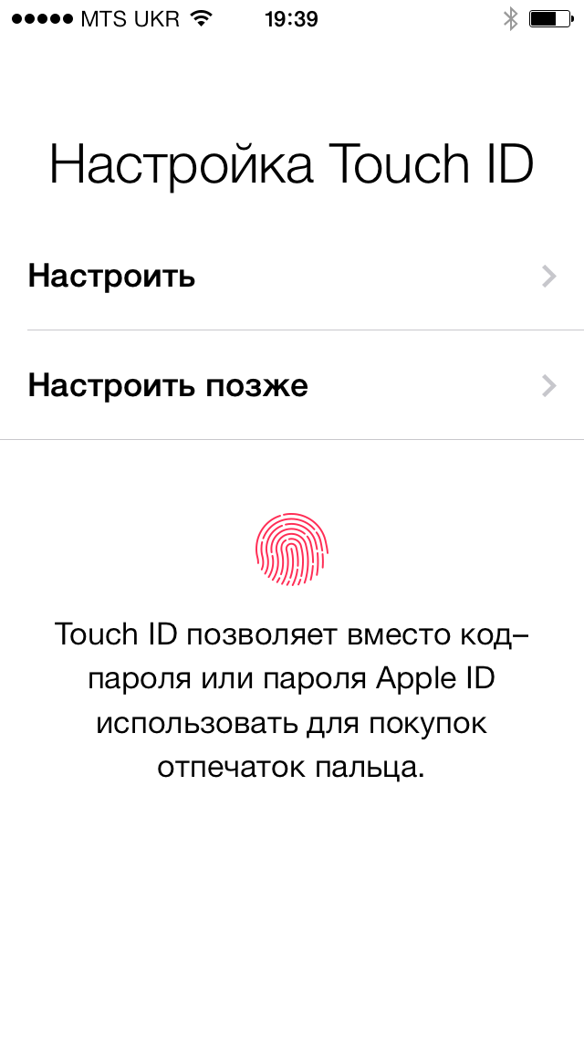 iPhone 5S настройка Touch ID