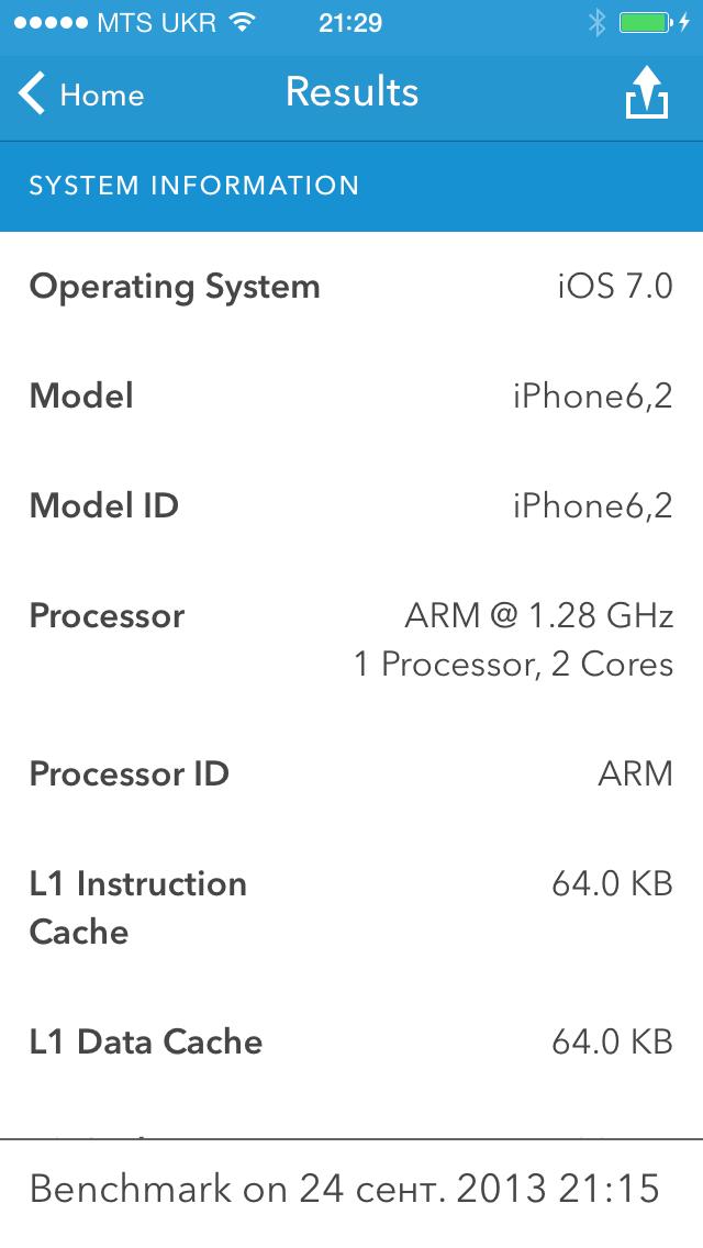 iPhone 5S результаты Geekbench