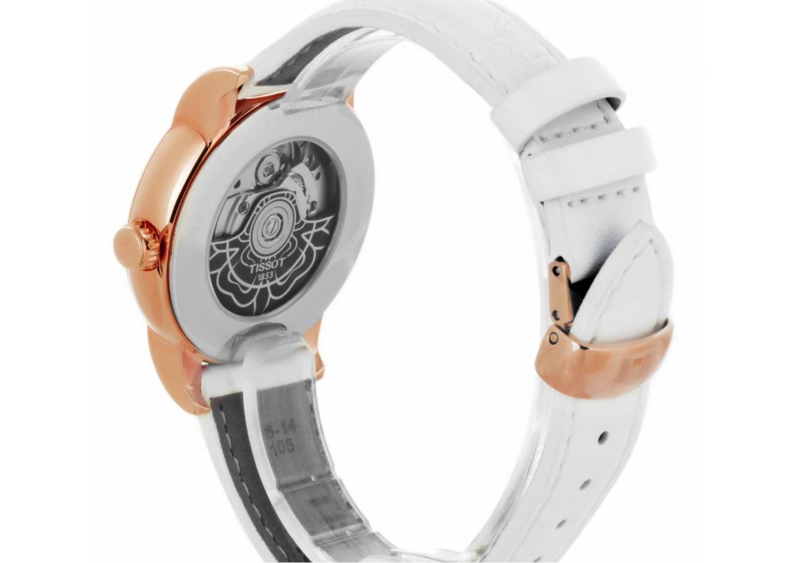 История часового бренда Tissot сделано в Швейцарии – Tissot Lady Heart Powermatic вид сзади