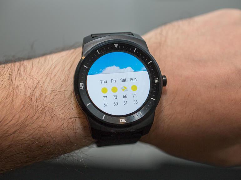 LG G Watch R - погода