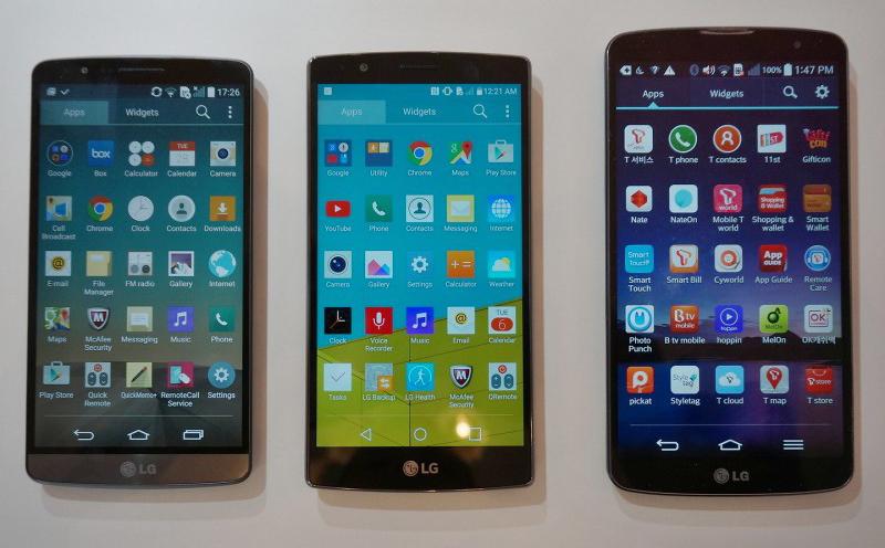 LG G3 vs G4  vs G Pro 2-сравнение экраны