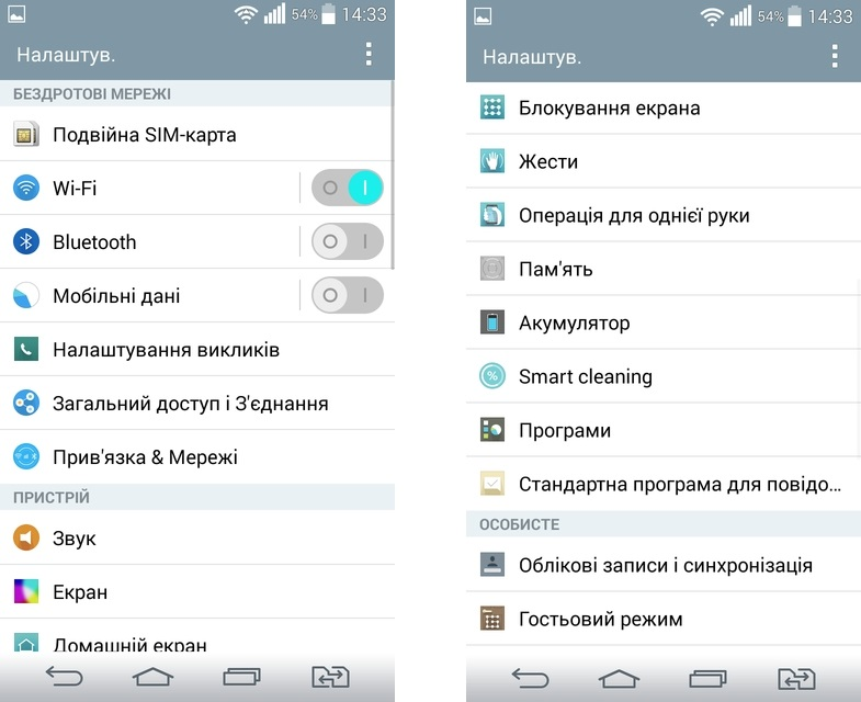 LG G3s Dual D724- скриншот оболочка
