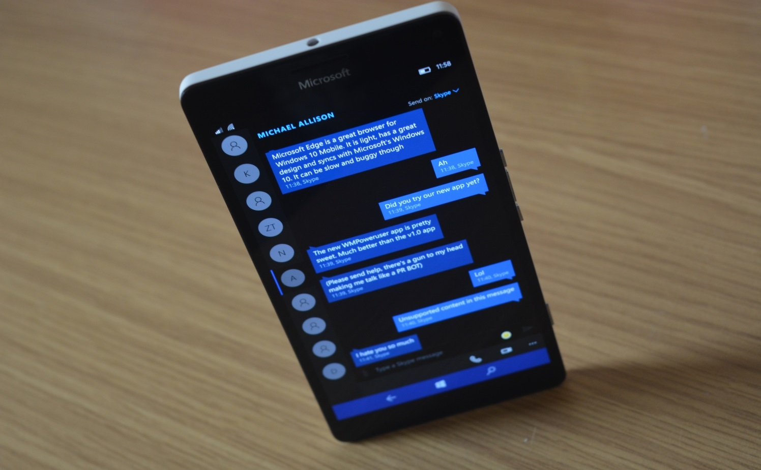 Microsoft Windows 10 интерфейс SMS