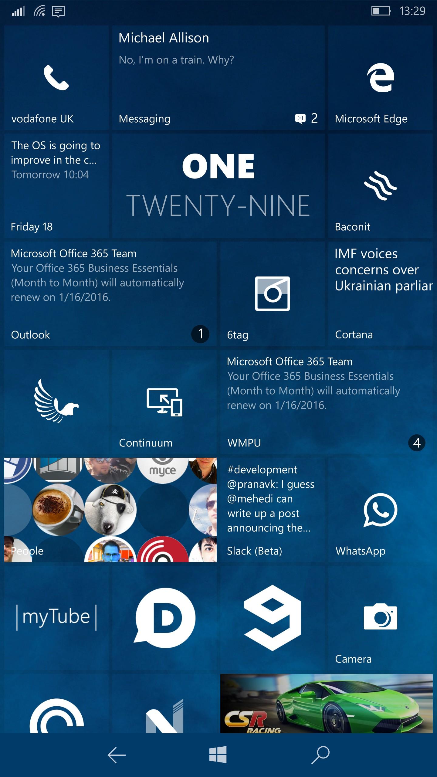 Microsoft Windows 10 интерфейс главного меню