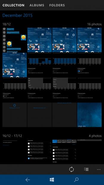 Microsoft Windows 10 интерфейс приложения фотографии