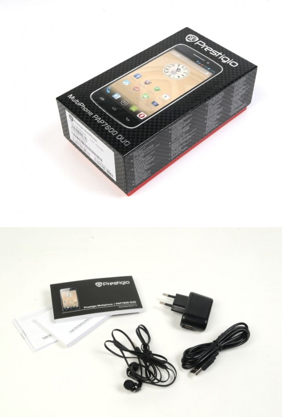 Prestigio MultiPhone 7600 Dual Sim grey-комплект поставки