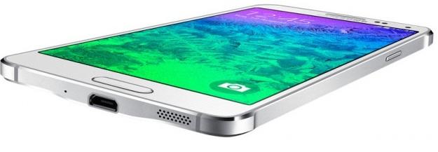 Samsung Galaxy Alpha G850F Dazzling White-нижний торец