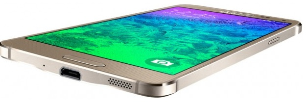 Samsung Galaxy Alpha G850F Frosted Gold-нижний торец