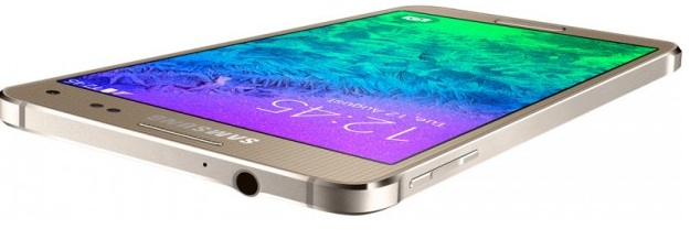 Samsung Galaxy Alpha G850F Frosted Gold-верхний торец