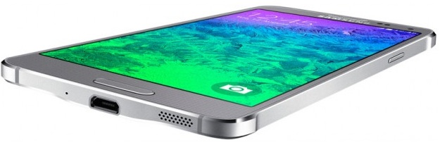 Samsung Galaxy Alpha G850F Sleek Silver-нижний торец