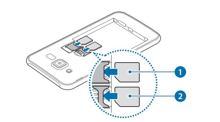 Samsung Galaxy J5 - Установка SIM-карт