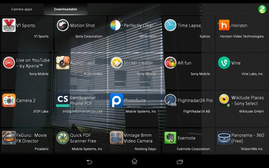 Sony Xperia Z3 Tablet-интерфейс приложения камеры скриншот