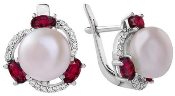 Украшения с разноцветными камнями будь в тренде – Серебряные серьги с  рубинами Калейдоскоп a9bea2f4bd3