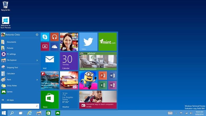 Windows 10-меню Пуск в действии